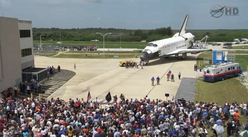 Atlantis after its, and the program's, final landing Atlantis welcome home ceremony outside the OPF July 22.png