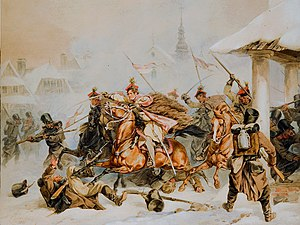 Kraków uprising - Attack of the Krakusi on Russians in Proszowice during the 1846 uprising. Juliusz Kossak painting.