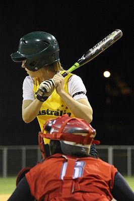 Japan vs Australië in het Hawker International Softball Centre te Canberra op 21 maart 2012