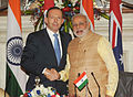Australian Prime Minister Tony Abbott and Indian Prime Minister Narendra Modi in India.jpg