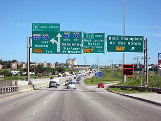 Quebec City–Windsor Corridor - Autoroute 73 entering Quebec City