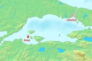 Avşa - Geographical location of Avşa island.
