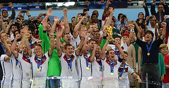 Benedikt Höwedes - Höwedes (front, third left) celebrates winning the 2014 World Cup with the Germany national team