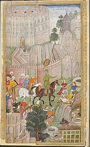 Babur visiting the Urvah valley in Gwalior 1.jpg