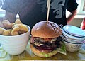 Bacon and cheese burger at the Harvester (20793128428).jpg