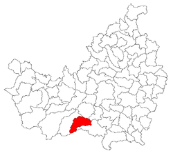 Location of the commune within Cluj County