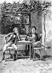 Un homme accoudé à une table écoute attentivement un autre jeune homme lisant un livre avec emphase.