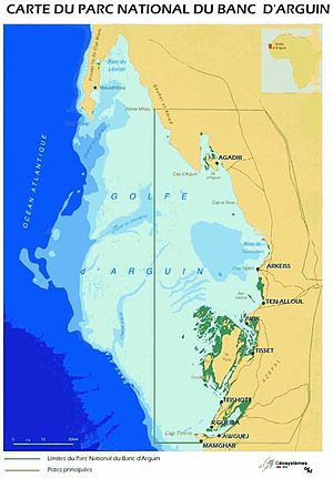 Bay of Arguin - Map of the wider gulf area showing the Banc d'Arguin National Park