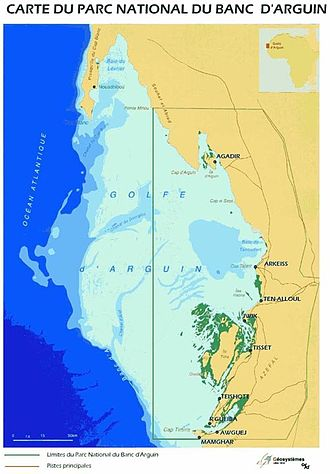 Banc d'Arguin National Park - Map of the bay showing the Banc d'Arguin National Park