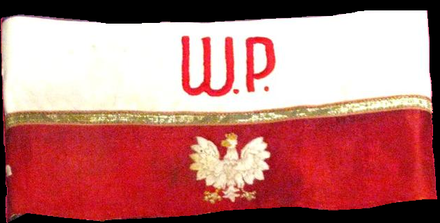 Armband worn by Home Army soldiers Band of Polish Home Army (Armia Krajowa).PNG