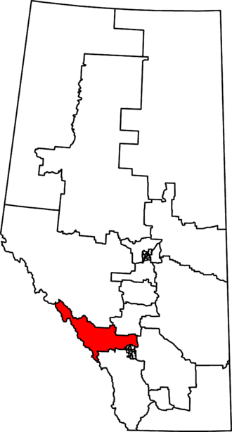 Banff—Airdrie - Banff–Airdrie in relation to other Alberta federal electoral districts as of the 2013 Representation Order.