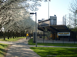 Outside of Duane Banks Field in Iowa City, Iowa.
