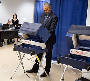 United States elections, 2016 - Then-incumbent President Barack Obama casts his vote early in Chicago on October 7, 2016