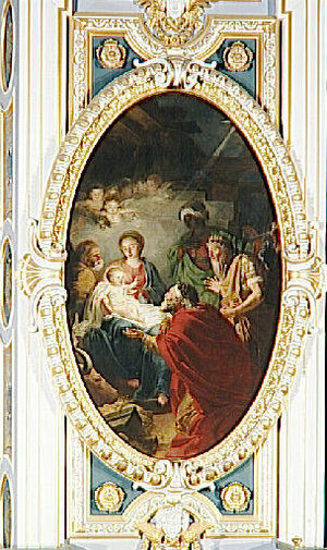 Jean Bardin - Adoration of the Magi, painting from 1781 at the Palace of Fontainebleau.
