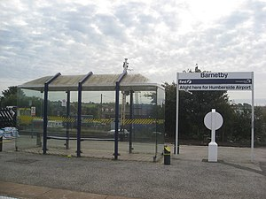 Humberside Airport - Barnetby Station with Alight here for Humberside Airport signage