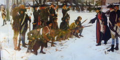 Von links bewaffnet mit Musketen, einem stehenden Rang von sechs US-Infanteristen, einem knienden Rang von sechs Infanteristen und dann von rechts gegenüber stehend, weist General von Steuben sie mit ausgestrecktem Arm und zwei Offizieren hinter sich an.