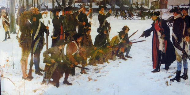An Edwin Austin Abbey painting of Baron Steuben drilling American troops at Valley Forge in 1778