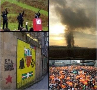 Basque conflict - Clockwise, starting at top left: ETA members at the 2006 Gudari Eguna in Oiartzun, Gipuzkoa; the Madrid Airport bombing; a demonstration against ETA in Madrid; pro-ETA graffiti in Pasaia.