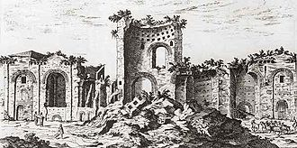 Étienne Dupérac - Remains of the Baths of Constantine in Rome, etching by Dupérac (c. 1575)