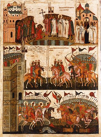 Our Lady of the Sign (Novgorod) - The battle as shown by Novgorodian icon