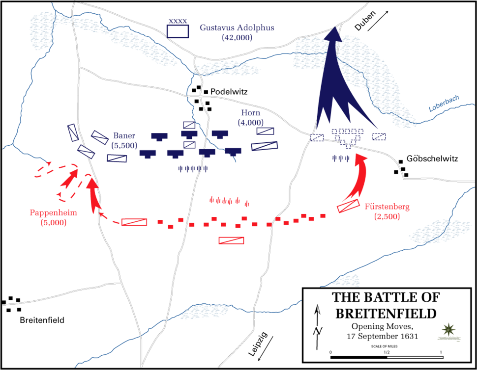Battle of Breitenfeld - Opening moves, 17 September 1631