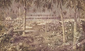 African theatre of World War I - Contemporary painting of the Allied defeat at the Battle of Tanga in 1914