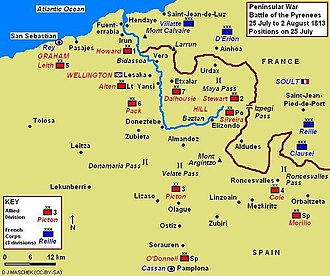 Siege of Pamplona (1813) - Battle of the Pyrenees - 25 July 1813 with Pamplona at lower center