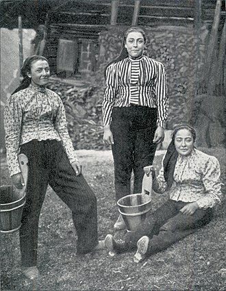 Swiss people - Farmer's wives of Champery, Valais (1904 photograph)