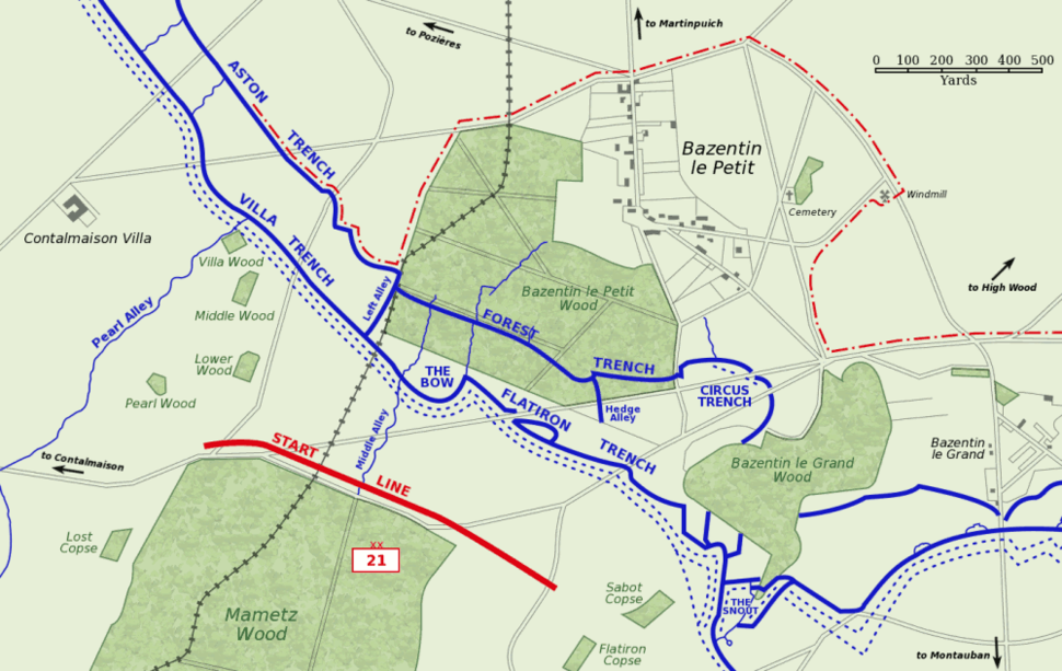 Bazentin le Petit 14 July 1916 map