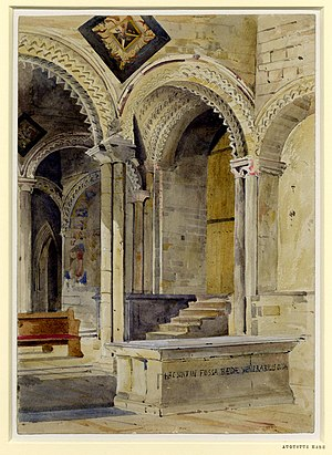 Augustus Hare - Bede's Tomb, Durham Cathedral, watercolour by Augustus Hare