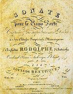 Frontespizio originale con dedica della prima edizione dello spartito della Sonata per pianoforte n. 32 opus 111