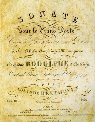 Catalogues of Beethoven compositions - Original title page for the Piano Sonata, Opus 111