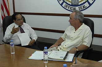 Benigno Fitial - Fitial meets with United States Secretary of the Interior Dirk Kempthorne on Saipan, CNMI, 6 June 2007