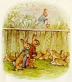 Potter's illustration of her anthropomorphic rabbits — in this case the married cousins, Benjamin and Flopsy Bunny (with Peter Rabbit in the background), from The Tale of the Flopsy Bunnies