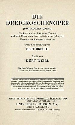 Bertolt Brecht - Die Dreigroschenoper (The Beggar's Opera), Wien, Universal-Edition, (1928).jpg