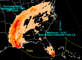 Filled contoured map showing areas of North America; each contour represents a change of 3 in (75 mm) in precipitation totals.
