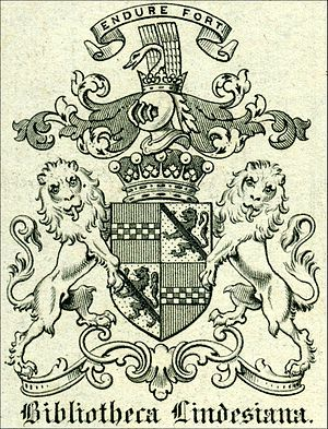 James Lindsay, 26th Earl of Crawford - A book plate from the Bibliotheca Lindesiana