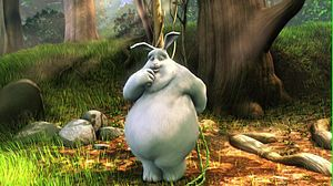 "The titular lead character of the film ""Big Buck Bunny"" in forest."