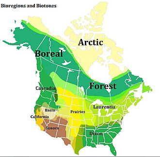 Bioregionalism - One scheme of potential North American bioregions.  The band of colour represent transitional biotones.