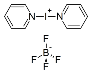 Bis(pyridine)iodonium(I) tetrafluoroborate - Image: Bis(pyridine)iodoniu m(I) tetrafluoroborate