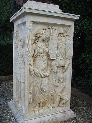 Arcus Novus - Plinth with Victoria, Dioskuri and barbarian prisoners, now in Boboli Gardens