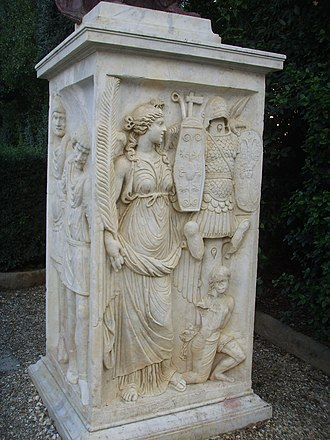 Arcus Novus - Plinth with Victoria, Dioskuri and barbarian prisoners, now in Boboli Gardens
