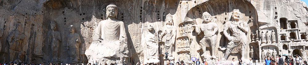 Panorama of the Buddhist sculptures in the main Longmen Grotto.