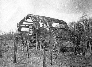 History of the tank - The Boirault machine used a huge rotating frame around a motorized center, early 1915