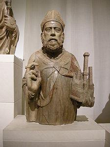 Busto di San Petronio, dalla Loggia della Mercanzia, ora nel Museo medievale di Bologna, lavoro di Pierpaolo dalle Masegne.