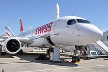 Bombardier CSeries CS100 in Swiss livery at PAS15.jpg