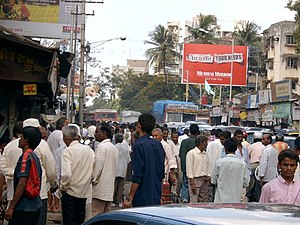 Normal, crowded street in Bombay.