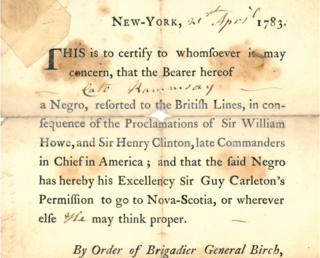 <i>Book of Negroes</i> document