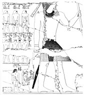 Large figure of a king standing and holding a staff. On the left, two rows of small figures with hieroglyphs detailing their names.
