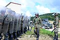 Bosnian-Herzegovinian soldiers practice crowd rioting control operations Aug. 27, 2014, during Saber Junction 2014 at the Joint Multinational Readiness Center in Hohenfels, Germany 140827-A-AO952-002.jpg